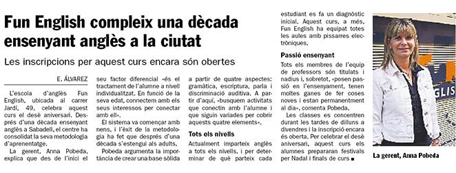 Fun English School Diari de Sabadell